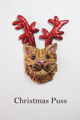 Christmas Puss Brooch (miss insomnia tulip) Tags: red cats brooch kittens sparkle gingercat catbrooch christmascats