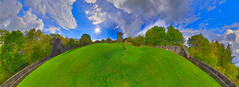 Uachtar Uachtarach (upper surface) (TJ.Photography) Tags: blue trees ireland sky panorama irish green castle galway architecture clouds landscape countryside towers wide sunny landmark medieval fields historical broad oughterard aughnanure