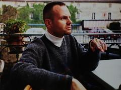 Greg in Isle-sur-la-Sorgue (paul.comstock) Tags: france sweater cigarette smoking 1998 turtleneck smoker vnecksweater islesurlasorgue turtlenecksweater whiteturtleneck gregohm