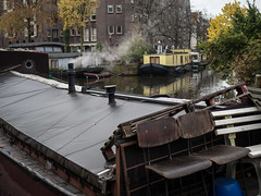 steamboat (grapfapan) Tags: autumn amsterdam grey canal gracht housboat