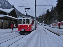 RD306.  Swiss (M.C.) train at Le Chtelard. (Ron Fisher) Tags: snow schweiz switzerland suisse rail railway thealps ch narrowgauge dieschweiz lasuisse schmalspurbahn montblancexpress metregauge voieetroite lechtelardfrontire