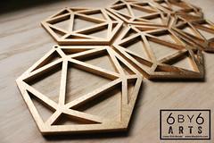 icosahedrons (thea superstarr) Tags: wood holiday geometric modern geometry ornament sacred mathematical icosahedron polyhedron lasercut 6by6arts