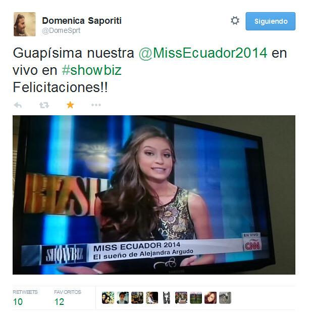Foto compartida por Doménica Saporiti, Miss Ecuador 2008, sobre la entrevista de Alejandra Argudo, Miss Ecuador 2014, en Showbiz de CNN en español.