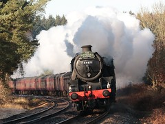 Black 5s 44871 & 45407 Lead 1Z49 07:23 Southend to Norwich 'The Cathedrals Express' tour through the Stort Valley and Thetford Forest on a wintery morning 06/12/14. (kitmasterbloke) Tags: autumn eastanglia steamlocomotive blackfive bishopsstortford doubleheading 45407 santondownham cathedralsexpress 44871