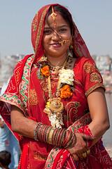 Happy Bride (Dick Verton ( more than 13.000.000 visitors )) Tags: travel red woman india smile bride asia winner varanasi colorfulwoman dickverton jewelss