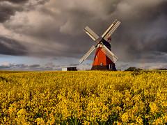 A storm brewing (Neal J.Wilson) Tags: weather yellow clouds denmark wind windmills scandinavia stormclouds rapeseed jutland rapeseedoil danishlandscapes bjerrewindmill