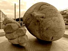 Ecoute / Listening (eloisa.) Tags: street city travel sculpture paris art face statue stone walking hand story listening ecoute parigi
