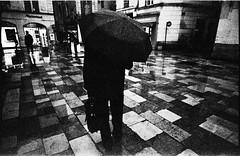 Rainy day. (http://vincent.oromi.photography) Tags: street city people blackandwhite man film rain analog noiretblanc kodak tx trix human pushed rodinal 3200 rue milf nmes 2014 21mm superangulon leicam r09 fomadon