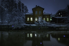 Goodnight (MilaMai) Tags: snowflake city trees winter house snow cold reflection home window nature water beautiful architecture night buildings reflections suomi finland river landscape snowflakes lights frozen flash frosty redhouse goodnight nightsky nightview inviting maisema snowscape illuminate waterscape loimijoki forssa southernfinland puuvilla fav100 fav200 kantahäme kehräämö lightsinthewindows milamai theriverloimijoki