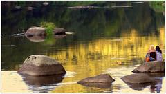Golden River (be there ...) Tags: sunset color water girl river germany gold women rocks sitting sonnenuntergang stones reflexion spiegelung regen oberpfalz frauen flus regenstauf