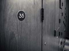 thirty-five (jojoannabanana) Tags: blackandwhite monochrome wooden dof locker gym canonpowershot s100 3662016