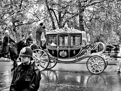 Her Majesty the Queen accompanied by The Sovereign's Escort to the State Opening of Parliament, London, England (May 18, 2016) (Dennis Sparks) Tags: england london blackwhite queenelizabeth 2016 hermajestythequeen stateopeningofparliament
