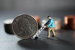 Moving money around (Quik Snapshot) Tags: closeup work miniature dof bokeh coins sony 11 quarter alpha lifesize hmm currency finance 25cents tinypeople hoscale a58 nopost 11ratio macromondays silverclad sam30mm slta58 smallerthanacoin movingmoneyaround