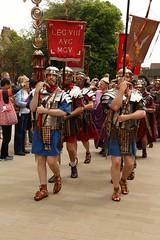 Romans On Parade (Derbyshire Harrier) Tags: york summer people army roman yorkshire crowd marching soldiers yorkminster reenactment yorkshiremuseum 2016 standardbearer eboracumromanfestival