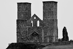 Reculver Towers. (pstone646) Tags: blackandwhite building monochrome architecture kent ruins roman fort towers historic walls reculver