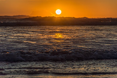 Ocean Sunset (JustinMullenPhotography) Tags: ocean sunset sky orange sun reflection beach nature water clouds contrast outside outdoors washington sand waves natural wilderness shores