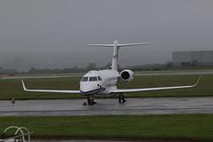 N280SD parked. (aitch tee) Tags: wet weather aircraft gulfstream bizjet walesuk cardiffairport maesawyrcaerdydd cwlegff signatureaircrafthandling parkedonthecambrian n280sd
