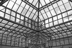See Thru (Ken Cruz --- Fernweh) Tags: windows blackandwhite lines architecture oregon buildings portland squares angles symmetry hdr pioneerdistrict
