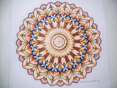 Mandala Gold & Blue (Lynne M. B.) Tags: coloringadults coloring coloringbook coloredpencils drawing art illustration prismacolor tropicalworld milliemarotta mandala