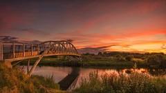 The Bridge Set (Captain Nikon) Tags: longhorsebridge bridge rivertrent river shardlow sawley derbyshire southderbyshire leicestershire sunset sundown panoramic stitched nikond7000