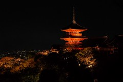 Kiyomizu-dera XV (Douguerreotype) Tags: lights pagoda dark buddhist buildings night kyoto shrine temple architecture japan