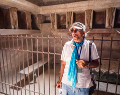 Pompeii Guide (buddythunder) Tags: travel europe 2016 wideangle italy pompeii guide guided tour man reflection sunglasses fence lockers baths roman ancient ruin surviving backlight