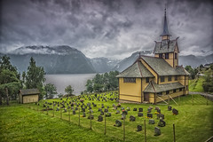 little church near Balestrand (wimvandemeerendonk, back home) Tags: norway panorama balestrand fjord sognefjord arnafjord graveyard contrast color colors colours colour clouds cloud grey hill hdr highdynamicrange landscape mountain minolta outdoors outdoor rock rocks sony sky tree trees wimvandem water flickrtravelaward