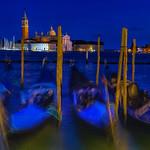 View of gondolas and the Church of San Giorgio Maggiore across the Venice lagoon thumbnail