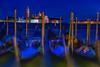 View of gondolas and the Church of San Giorgio Maggiore across the Venice lagoon (diana_robinson) Tags: bluehour gondolas churchofsangiorgiomaggiore venicelagoon venice italy nightphotography longexposure abigfave