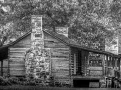 Little 1800s Cabin (clarkcg photography) Tags: cabin log 1800s rocks chimney fireplace porch frontporch wood notched lap blackandwhite blackandwhitethursday7dwf 7dwf