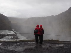 Red Coats and Waterfalls (Feldore) Tags: gullfoss waterfall rain raining wet red coats people viewing iceland icelandic feldore mchugh em1 olympus 1240mm landscape