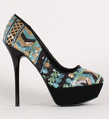 "Multicolor sequin round toe platform pump blue multi • <a style=""font-size:0.8em;"" href=""http://www.flickr.com/photos/64360322@N06/15107754344/"" target=""_blank"">View on Flickr</a>"