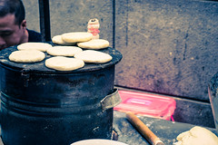 on the stove (iamblakejones) Tags: china street city travel two urban food colour texture modern asia cross shanghai contemporary crossprocess culture stall explore delight experience smell vendor taste process tone culinary cultural fragrance twotone