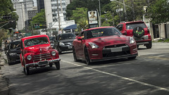 """David and Godzillath"" (DaniloBReis) Tags: red 6 classic cars car big nissan fiat sony small a33 super vermelho exotic turbo sampa sp preta paulo alpha placa bi so 1949 slt gtr clssico biturbo cilindros"