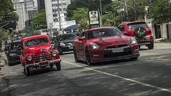 """David and Godzillath"" (DaniloBReis) Tags: red 6 classic cars car big nissan fiat sony small a33 super vermelho exotic turbo sampa sp preta paulo alpha placa bi são 1949 slt gtr clássico biturbo cilindros"