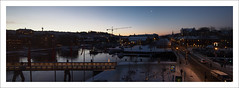 A cold December morning (Christa (ch-cnb)) Tags: christmas morning bridge winter panorama moon cold norway sailboat sunrise river boats dawn hotel boat norge canal december advent footbridge pano olympus trondheim srtrndelag omd trndelag scandic nidelven em5 panasoniclumix20mm kjpmansgate