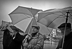 One minute's silence (5) (april-mo) Tags: blackandwhite france umbrella protest streetscene nord terroristattack somain oneminutessilence
