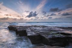 Patterns of Light (Nick Twyford) Tags: longexposure sunset newzealand seascape clouds waves auckland nz northisland westcoast muriwai lateafternoonlight coastallandscape rockplatform colourimage leefilters nikond800 lee09nd lee06gndhard nikkor160350mmf40 solmetageotaggerpro2
