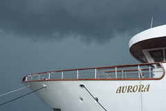 Aurora Boat in Storm (George_450D) Tags: summer sky white storm black weather clouds canon dark boat mediterranean harbour yacht rich croatia aurora thunderstorm expensive luxury hvar