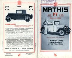 Pub Mathis 4 cyl et 6 cyl modèles PY 1932 P01 et 04 (gueguette80 ... Définitivement non voyant) Tags: old cars advertising pub advert autos publicité mathis anciennes françaises