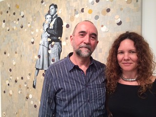 Miami artist Ruben Torres Llorca with Maria and with his artwork at Juan Ruiz gallery booth at Pinta Miami