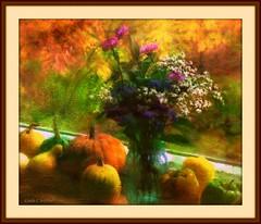 Windowsill gourds, textured (edenseekr) Tags: gourds vase windowsill pumkin stilllifecomposition