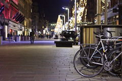 Buchanan Street (DMeadows) Tags: road christmas street city light bike bicycle night festive walking evening scotland town streetlight lock walk glasgow centre pedestrian walker buchanan frame vehicle parked lit locked secured peuguot davidmeadows dmeadows davidameadows
