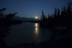 Athabasca Moonrise (Cale Best Photography) Tags: nightphotography travel camping light camp vacation moon canada mountains reflection tourism nature night river stars landscape rockies photography nationalpark jasper moonrise alberta campground jnp jaspernationalpark athabasca wabasso rockymountans