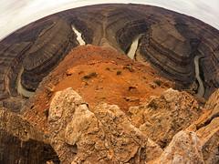 San Juan Goosenecks in Utah (cowlishaw) Tags: arizona southwest landscape utah sandstone desert wideangle fisheye panasonic adventure navajo fourcorners nationalgeographic 75mm superwide gh2 exporation rokinon microfourthirds