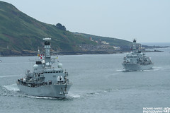 Two Ships Passing Through The Sound (Richard M Harris) Tags: ship shipping frigate royalnavy armedforcesday type23frigate hmssutherland f81 f235 hmsmonmouth armedforcesday2009 plymoutharmedforcesday f235hmsmonmouth richardharrisphotography f81hmssutherland plymoutharmedforcesday2009