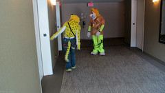 131f (Coyoty) Tags: people orange brown color yellow costume furry pittsburgh pennsylvania elevator mascot convention furries cheetah spotted performer fandom anthropomorphic fursuit anthrocon furryfandom anthropomorphics anthrocon2014