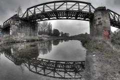 Eisenbahnbrücke Alte Elbe (SaschaHaaseFotografie) Tags: fisheye magdeburg hdr elbe eisenbahnbrücke alte
