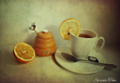 A cup of tea with honey & lemon (Through Serena's Lens) Tags: magicunicornverybest memories lemon honey tea cup texture still life