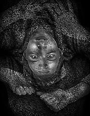 Double Struggle (mckenziemedia) Tags: boy portrait white man black face photoshop canon silver eos exposure mark doubleexposure 85mm 15 double ii 5d nik 40 lowkey hdr helios f15 efex